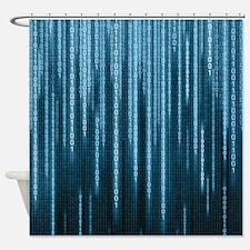 Blue Binary Rain Shower Curtain