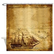 Old Ship Map Shower Curtain