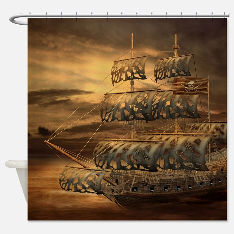 Pirate ship shower curtains pirate ship fabric shower for Pirate bathroom ideas