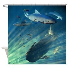 Submarine And Sharks Shower Curtain