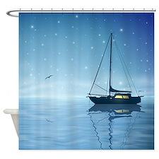 Sailboat at Night Shower Curtain