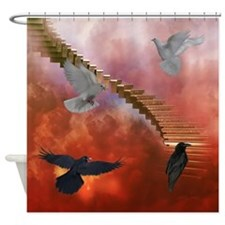 Doves and Ravens Shower Curtain