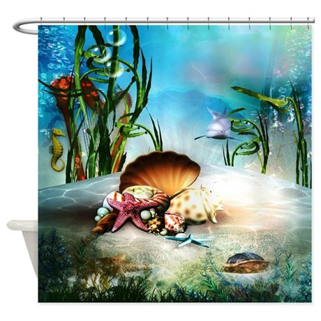 Wonderful Underwater Sea Life Shower Curtain