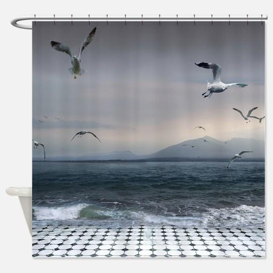 Surreal Seaguls Shower Curtain