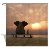 Dog and elephant Shower Curtains