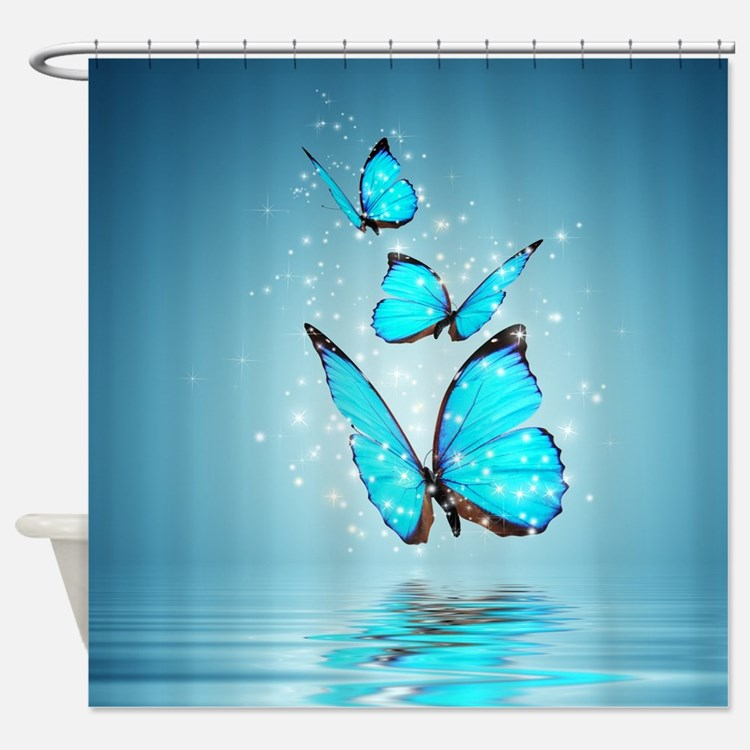 Blue butterfly curtains