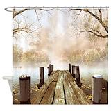 All autumn wooden pier Shower Curtains