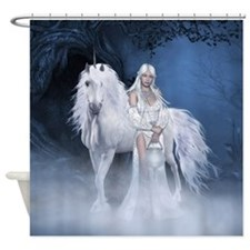 White Lady and Unicorn Shower Curtain