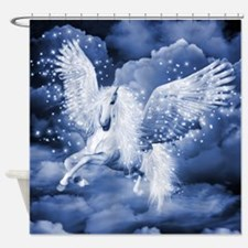Sparkling White Pegasus Shower Curtain
