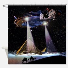 UFO over Pyramids Shower Curtain