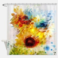 Watercolor Sunflowers Shower Curtain