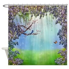 Purple Wisteria Springtime Shower Curtain