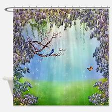 Purple Wisteria Springtime Shower Curtain