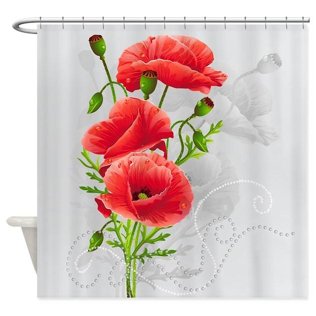 Artistic Red Poppies Shower Curtain by FantasyArtDesigns