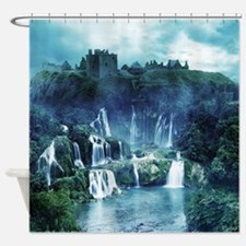 Gothic Ruin Waterfall Shower Curtain