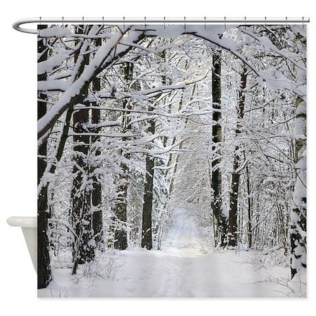 Winter forest path shower curtain by fantasyartdesigns