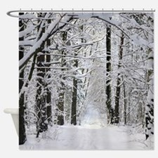 Winter Forest Path Shower Curtain