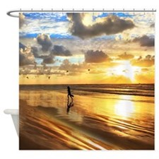 Golden Surf Sunset Shower Curtain