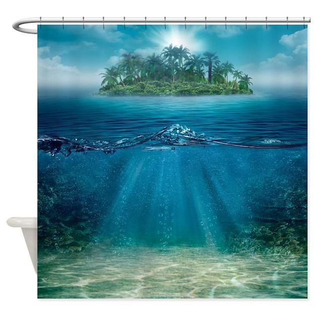 Tropical Island: Tropical Island Seabottom Shower Curtain By FantasyArtDesigns