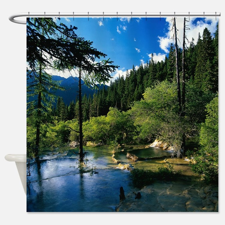 Forest Lake Fabric Home: Mountain Fabric Shower Curtain