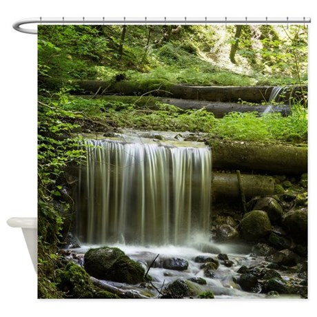 Green forest waterfall shower curtain by fantasyartdesigns - Forest green shower curtain ...
