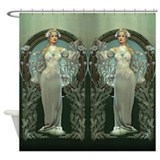 Art nouveau white lady Shower Curtains