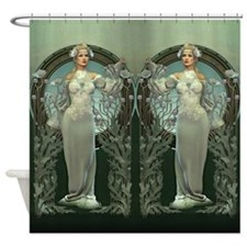 Art Nouveau White Lady Shower Curtain