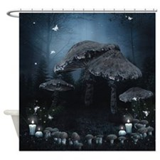 Dark Mushroom Ring Shower Curtain