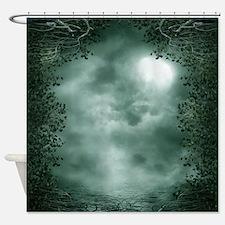 Mystic Green Moonlight Shower Curtain