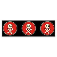 Skull & Crossbones - Red Circle Bumper Bumper Sticker