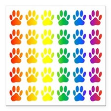 "Rainbow Paw Print Patter Square Car Magnet 3"" x 3"""