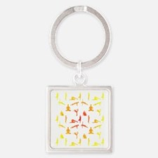 Yoga Positions In Gradient Colors Keychains