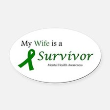 My Wife Is A Survivor Oval Car Magnet