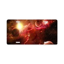 Red Solar System Aluminum License Plate