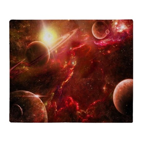Red solar system throw blanket by coolbedding for Solar system fleece