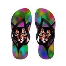 Cat Portrait Watercolor Style Flip Flops