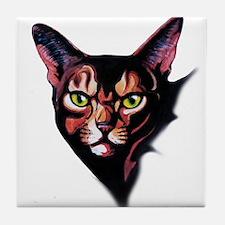 Cat Portrait Watercolor Style Tile Coaster