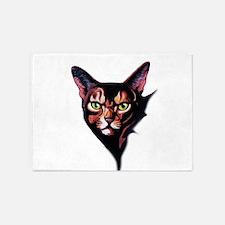 Cat Portrait Watercolor Style 5'x7'Area Rug