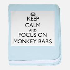 Keep Calm by focusing on Monkey Bars baby blanket