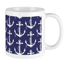 Nautical Anchors Aweigh Navy Mug