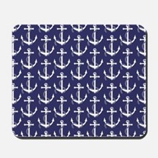 Nautical Anchors Aweigh Navy Mousepad