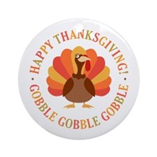 Happy Thanksgiving Turkey Ornament (Round)