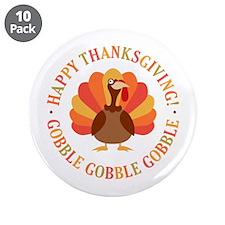 "Happy Thanksgiving Turkey 3.5"" Button (10 pack)"