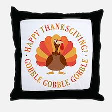 Happy Thanksgiving Turkey Throw Pillow