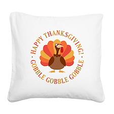 Happy Thanksgiving Turkey Square Canvas Pillow