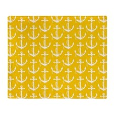 Nautical Anchors Aweigh Yellow Throw Blanket