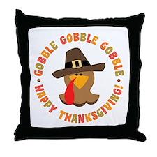 Funny Thanksgiving Pilgrim Turkey Throw Pillow