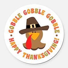 Funny Thanksgiving Pilgrim Turkey Round Car Magnet