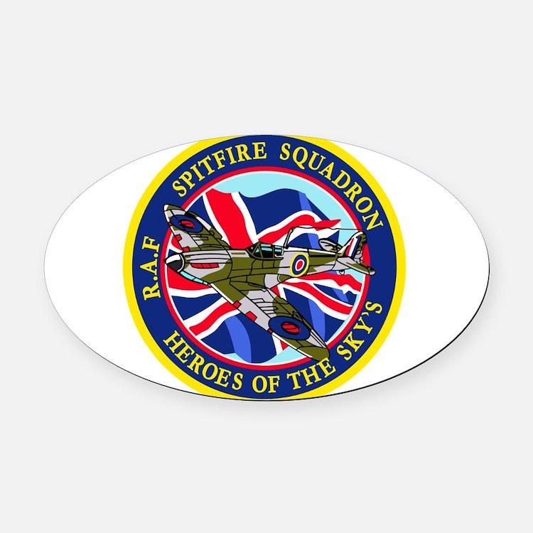 SPITFIRE w.UK flag.png Oval Car Magnet