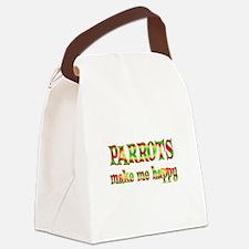 Parrots Make Me Happy Canvas Lunch Bag